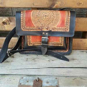 Vintage tooled Aztec leather handbag